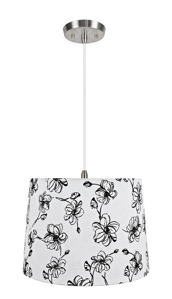 # 72323-11 One-Light Hanging Pendant Ceiling Light with Transitional Hardback Empire Fabric Lamp Shade, White, 14
