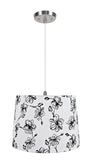 "# 72323-11 One-Light Hanging Pendant Ceiling Light with Transitional Hardback Empire Fabric Lamp Shade, White, 14"" width"