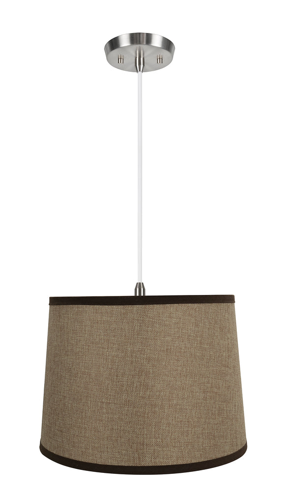 # 72324-11 One-Light Hanging Pendant Ceiling Light with Transitional Hardback Empire Fabric Lamp Shade, White, 14