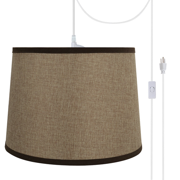# 72324-21 One-Light Plug-In Swag Pendant Light Conversion Kit with Transitional Hardback Empire Fabric Lamp Shade, Straw Yellow, 14