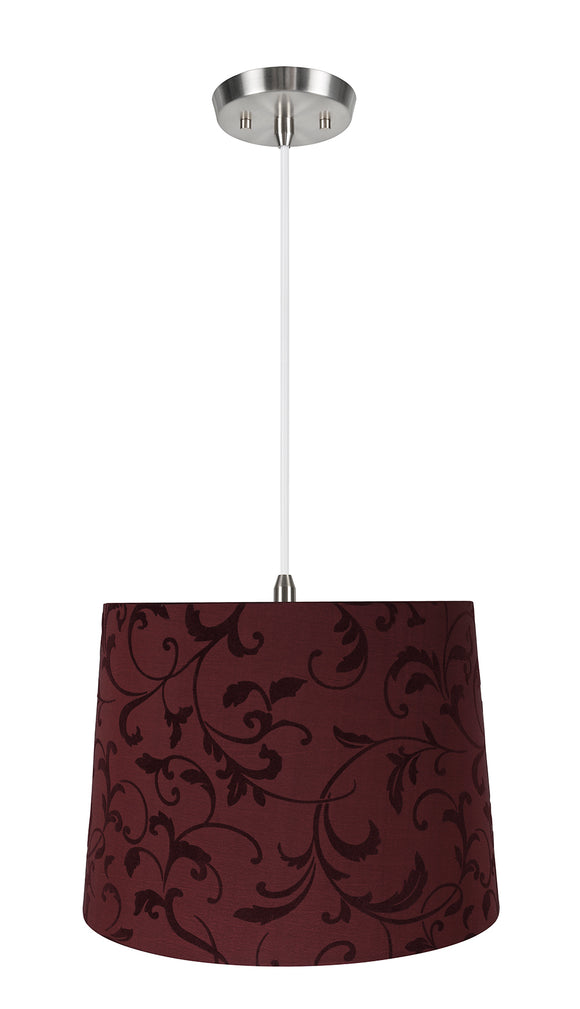 # 72325-11 One-Light Hanging Pendant Ceiling Light with Transitional Hardback Empire Fabric Lamp Shade, Red, 14