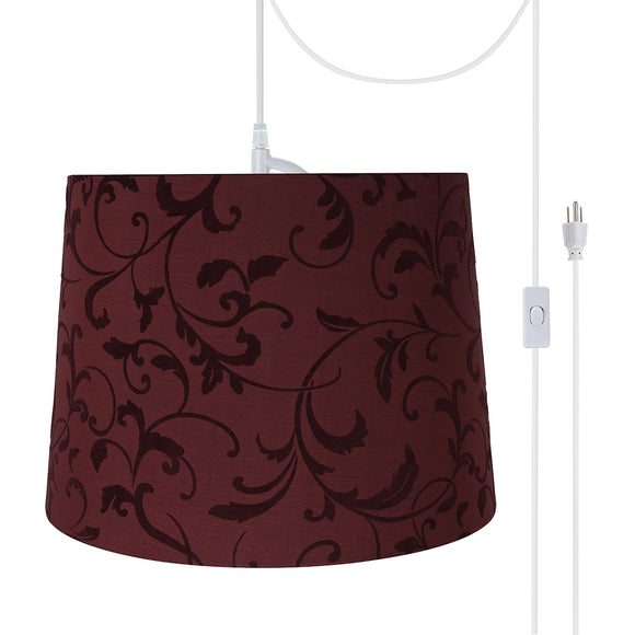 # 72325-21 One-Light Plug-In Swag Pendant Light Conversion Kit with Transitional Hardback Empire Fabric Lamp Shade, Red, 14