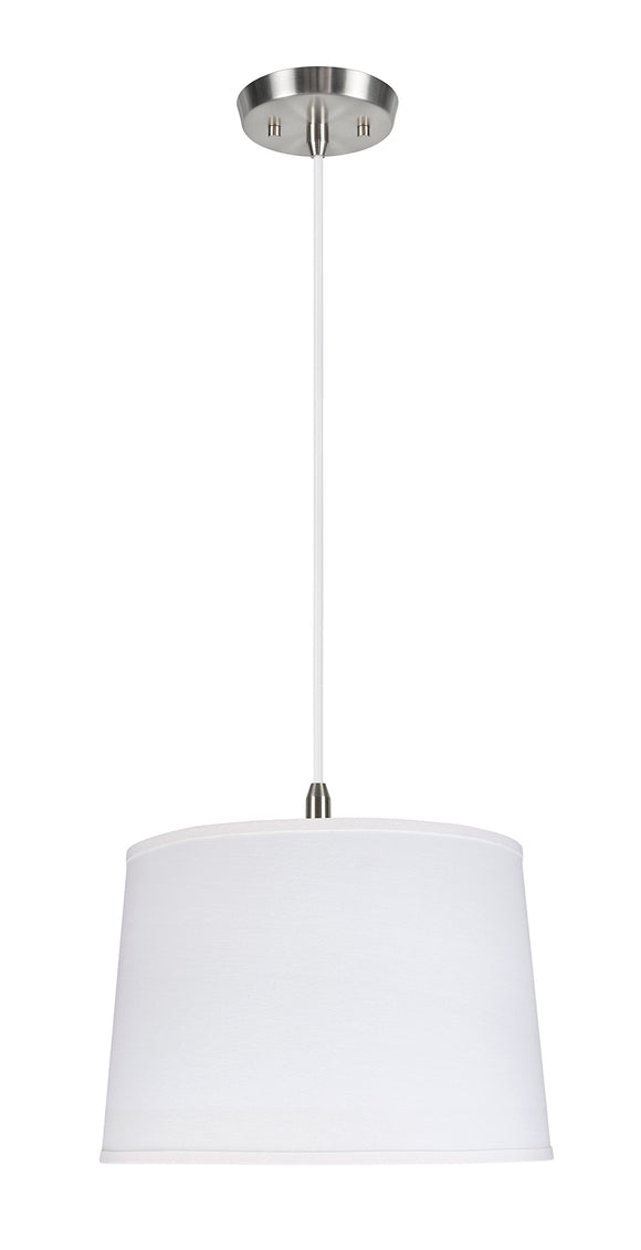 # 72326-11 Two-Light Hanging Pendant Ceiling Light with Transitional Hardback Empire Fabric Lamp Shade, White, 16