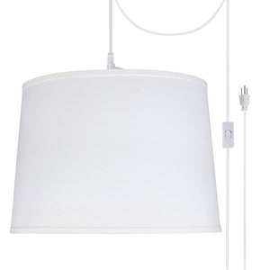 "# 72326-21 Two-Light Plug-In Swag Pendant Light Conversion Kit with Transitional Hardback Empire Fabric Lamp Shade, White, 16"" width"