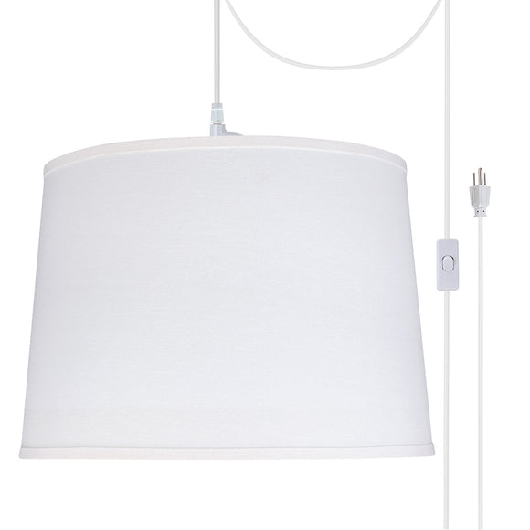 # 72326-21 Two-Light Plug-In Swag Pendant Light Conversion Kit with Transitional Hardback Empire Fabric Lamp Shade, White, 16