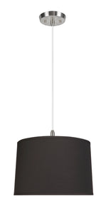 "# 72346-11 Two-Light Hanging Pendant Ceiling Light with Transitional Hardback Empire Fabric Lamp Shade, Black, 16"" width"