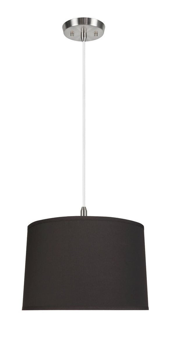 # 72346-11 Two-Light Hanging Pendant Ceiling Light with Transitional Hardback Empire Fabric Lamp Shade, Black, 16