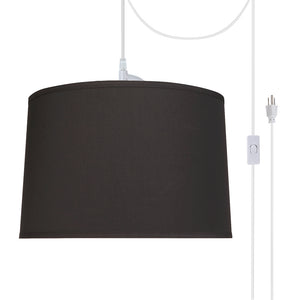 "# 72346-21 Two-Light Plug-In Swag Pendant Light Conversion Kit with Transitional Hardback Empire Fabric Lamp Shade, Black, 16"" width"