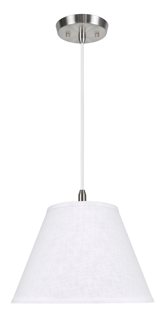 # 72366-11 One-Light Hanging Pendant Ceiling Light with Transitional Hardback Empire Fabric Lamp Shade, White, 14