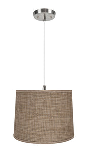 "# 72386-11 Two-Light Hanging Pendant Ceiling Light with Transitional Hardback Empire Fabric Lamp Shade, Brown Tweed, 16"" width"