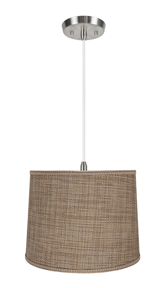 # 72386-11 Two-Light Hanging Pendant Ceiling Light with Transitional Hardback Empire Fabric Lamp Shade, Brown Tweed, 16