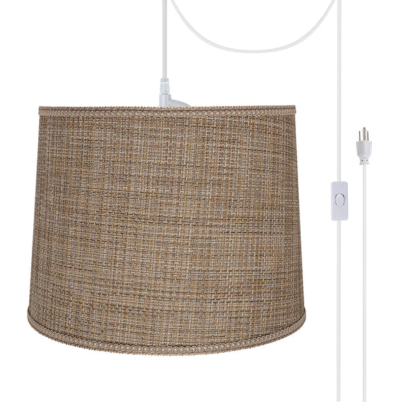 # 72386-21 Two-Light Plug-In Swag Pendant Light Conversion Kit with Transitional Hardback Empire Fabric Lamp Shade, Brown Tweed, 16
