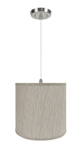 "# 72501-11 One-Light Hanging Pendant Ceiling Light with Transitional Hardback Empire Fabric Lamp Shade, Striped, 13"" width"