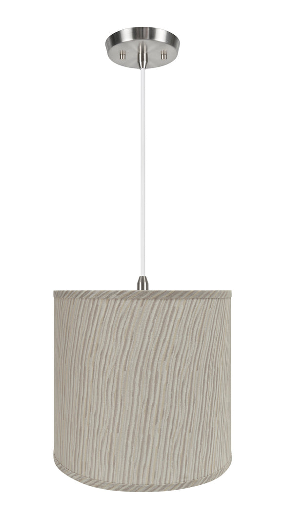 # 72501-11 One-Light Hanging Pendant Ceiling Light with Transitional Hardback Empire Fabric Lamp Shade, Striped, 13