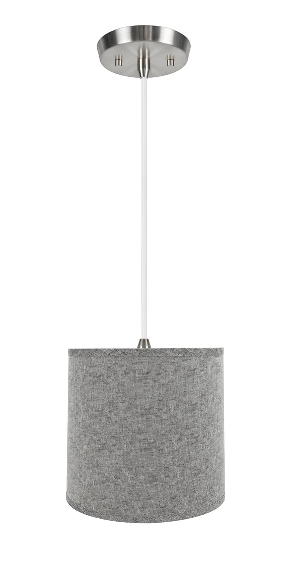 # 72502-11 One-Light Hanging Pendant Ceiling Light with Transitional Hardback Empire Fabric Lamp Shade, Grey, 13