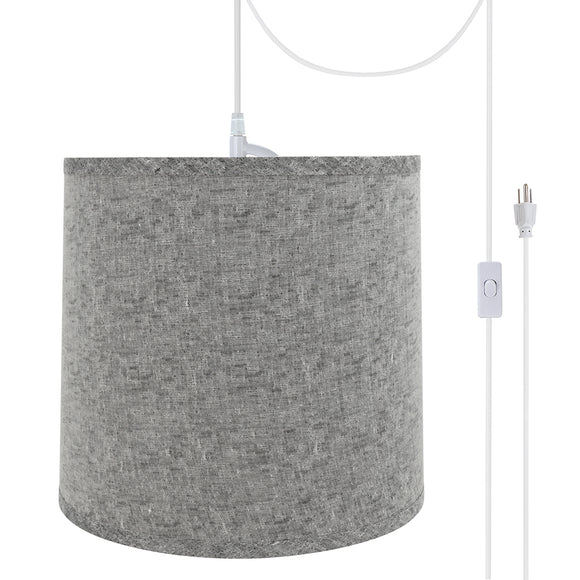 # 72502-21 One-Light Plug-In Swag Pendant Light Conversion Kit with Transitional Hardback Empire Fabric Lamp Shade, Grey, 13
