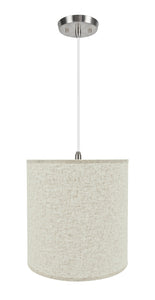 "# 72531-11 One-Light Hanging Pendant Ceiling Light with Transitional Hardback Empire Fabric Lamp Shade, Beige, 15"" width"
