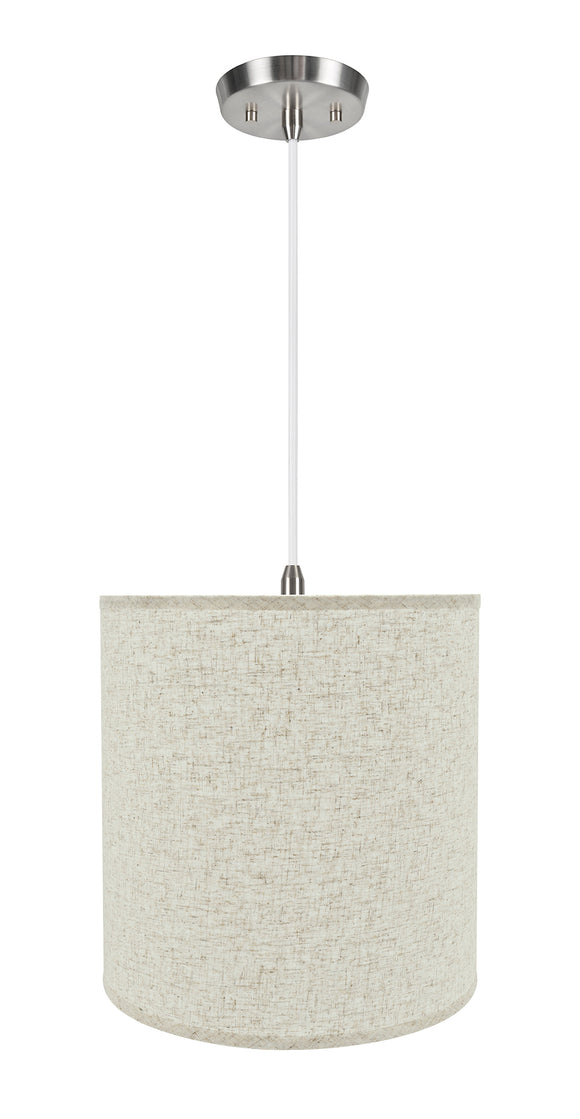 # 72531-11 One-Light Hanging Pendant Ceiling Light with Transitional Hardback Empire Fabric Lamp Shade, Beige, 15
