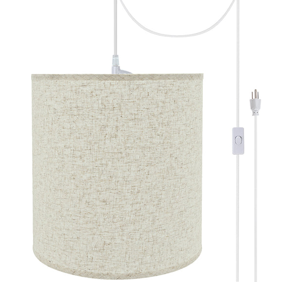 # 72531-21 One-Light Plug-In Swag Pendant Light Conversion Kit with Transitional Hardback Empire Fabric Lamp Shade, Beige, 15