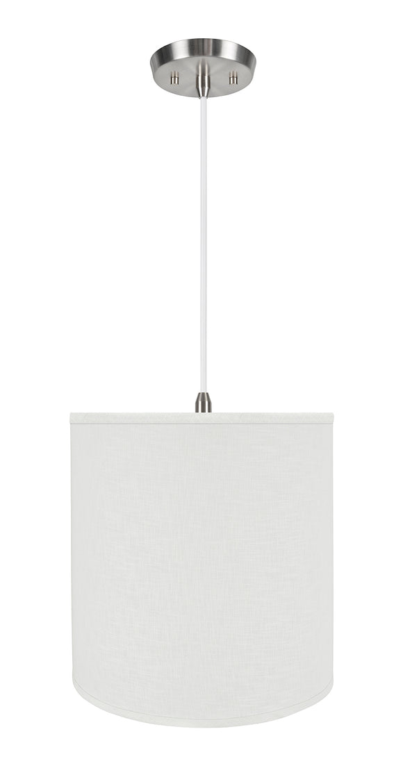 # 72532-11 One-Light Hanging Pendant Ceiling Light with Transitional Hardback Empire Fabric Lamp Shade, Off White, 15