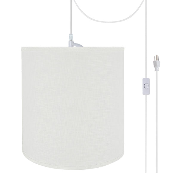 # 72532-21 One-Light Plug-In Swag Pendant Light Conversion Kit with Transitional Hardback Empire Fabric Lamp Shade, Off White, 15