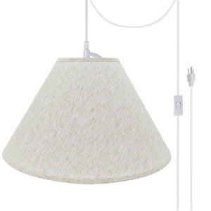 "# 72561-21 Two-Light Plug-In Swag Pendant Light Conversion Kit with Transitional Hardback Empire Fabric Lamp Shade, Beige, 20"" width"