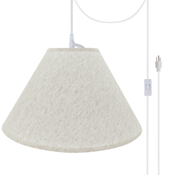 # 72561-21 Two-Light Plug-In Swag Pendant Light Conversion Kit with Transitional Hardback Empire Fabric Lamp Shade, Beige, 20