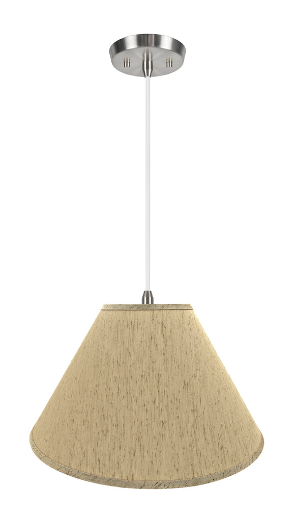 # 72562-11 Two-Light Hanging Pendant Ceiling Light with Transitional Hardback Empire Fabric Lamp Shade, Yellowish Brown, 20