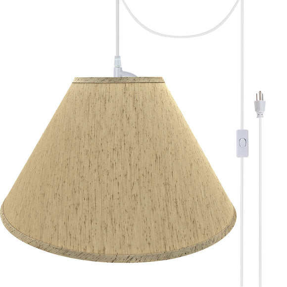 # 72562-21 Two-Light Plug-In Swag Pendant Light Conversion Kit with Transitional Hardback Empire Fabric Lamp Shade, Yellowish Brown, 20