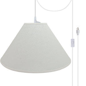 "# 72591-21 Two-Light Plug-In Swag Pendant Light Conversion Kit with Transitional Hardback Empire Fabric Lamp Shade, Off White, 23"" width"