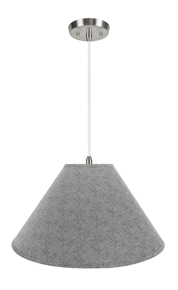 # 72592-11 Two-Light Hanging Pendant Ceiling Light with Transitional Hardback Empire Fabric Lamp Shade, Grey, 23