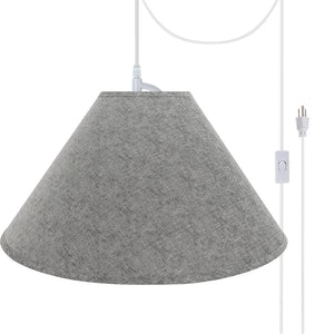"# 72592-21 Two-Light Plug-In Swag Pendant Light Conversion Kit with Transitional Hardback Empire Fabric Lamp Shade, Grey, 23"" width"