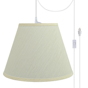 "# 72623-21 One-Light Plug-In Swag Pendant Light Conversion Kit with Transitional Hardback Empire Fabric Lamp Shade, Eggshell, 12"" width"