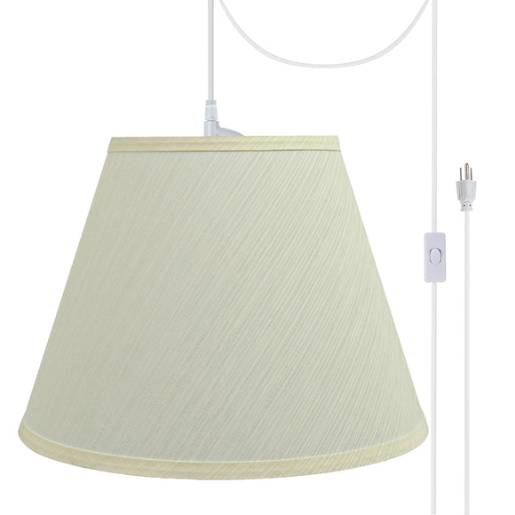 # 72623-21 One-Light Plug-In Swag Pendant Light Conversion Kit with Transitional Hardback Empire Fabric Lamp Shade, Eggshell, 12