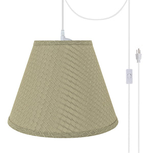 "# 72624-21 One-Light Plug-In Swag Pendant Light Conversion Kit with Transitional Hardback Empire Fabric Lamp Shade, Sand Yellow, 12"" width"
