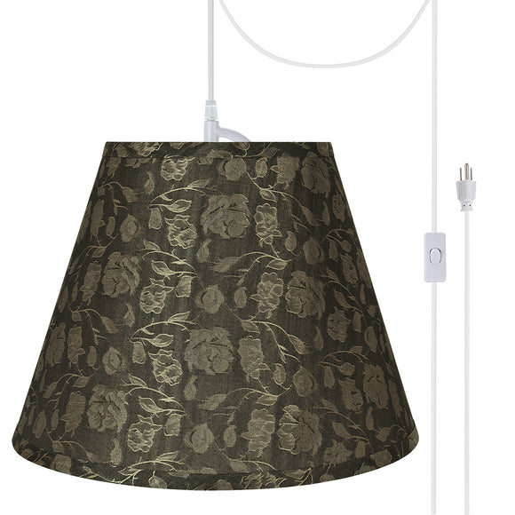 # 72626-21 One-Light Plug-In Swag Pendant Light Conversion Kit with Transitional Hardback Empire Fabric Lamp Shade, Light Brown, 12