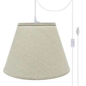 "# 72681-21 One-Light Plug-In Swag Pendant Light Conversion Kit with Transitional Hardback Empire Fabric Lamp Shade, Light Grey, 13"" width"
