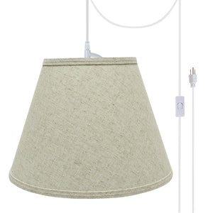 "# 72683-21 One-Light Plug-In Swag Pendant Light Conversion Kit with Transitional Hardback Empire Fabric Lamp Shade, Beige, 13"" width"