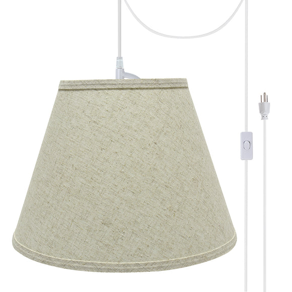 # 72683-21 One-Light Plug-In Swag Pendant Light Conversion Kit with Transitional Hardback Empire Fabric Lamp Shade, Beige, 13