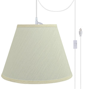 "# 72684-21 One-Light Plug-In Swag Pendant Light Conversion Kit with Transitional Hardback Empire Fabric Lamp Shade, Eggshell, 13"" width"