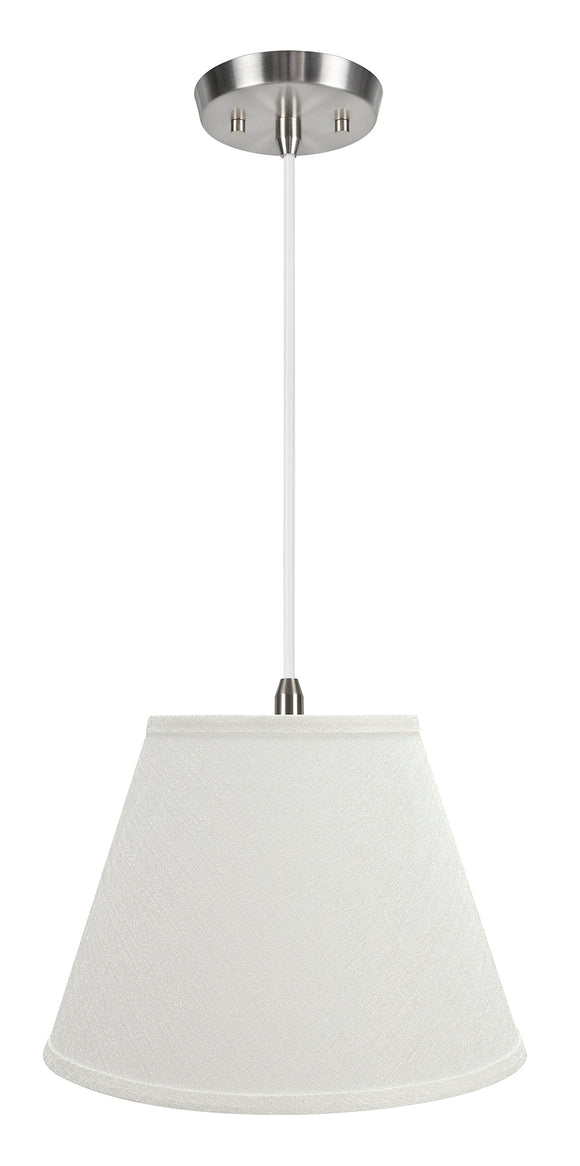 # 72685-11 One-Light Hanging Pendant Ceiling Light with Transitional Hardback Empire Fabric Lamp Shade, Off White, 13