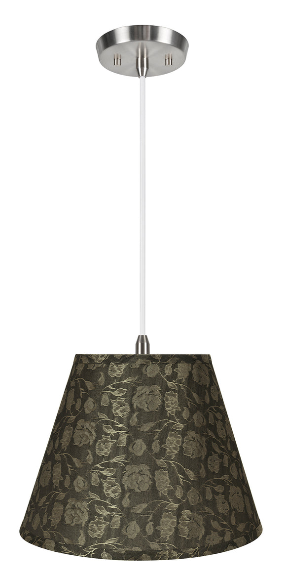 # 72686-11 One-Light Hanging Pendant Ceiling Light with Transitional Hardback Empire Fabric Lamp Shade, Light Brown, 13