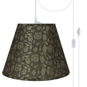 "# 72686-21 One-Light Plug-In Swag Pendant Light Conversion Kit with Transitional Hardback Empire Fabric Lamp Shade, Light Brown, 13"" width"