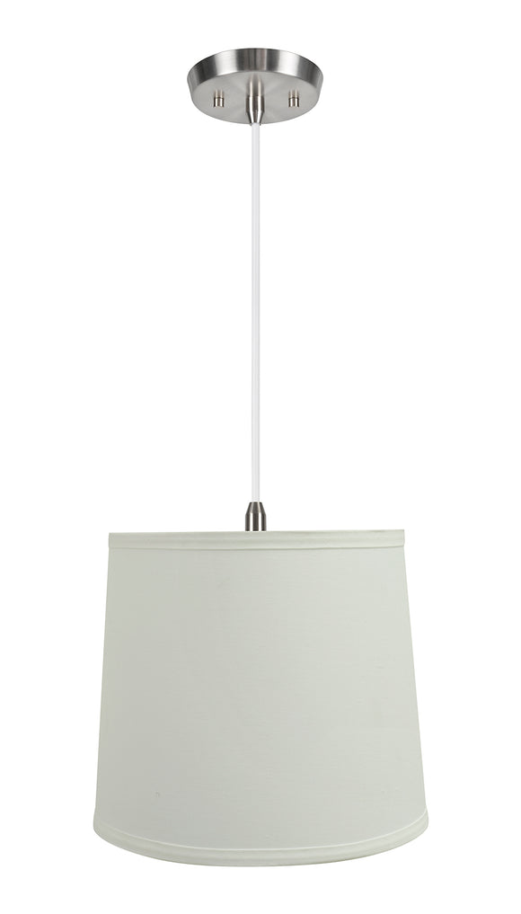 # 72741-11 One-Light Hanging Pendant Ceiling Light with Transitional Hardback Empire Fabric Lamp Shade, Off White, 10-1/2