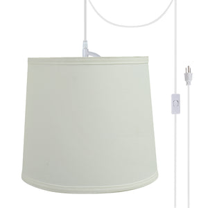 "# 72741-21 One-Light Plug-In Swag Pendant Light Conversion Kit with Transitional Hardback Empire Fabric Lamp Shade, Off White, 10-1/2"" width"