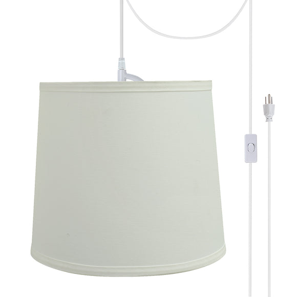 # 72741-21 One-Light Plug-In Swag Pendant Light Conversion Kit with Transitional Hardback Empire Fabric Lamp Shade, Off White, 10-1/2