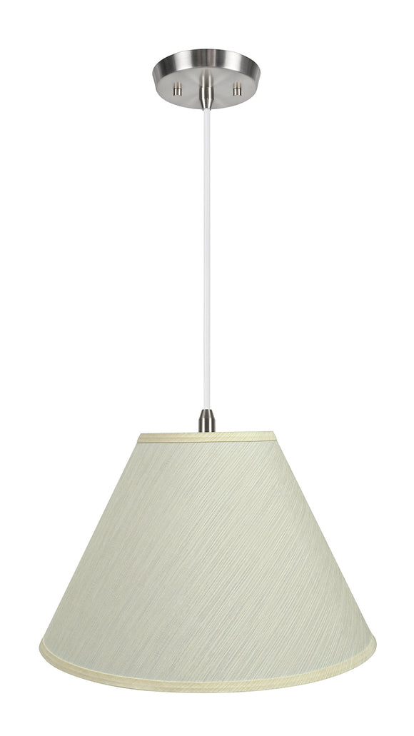 # 72771-11 Two-Light Hanging Pendant Ceiling Light with Transitional Hardback Empire Fabric Lamp Shade, Eggshell, 18