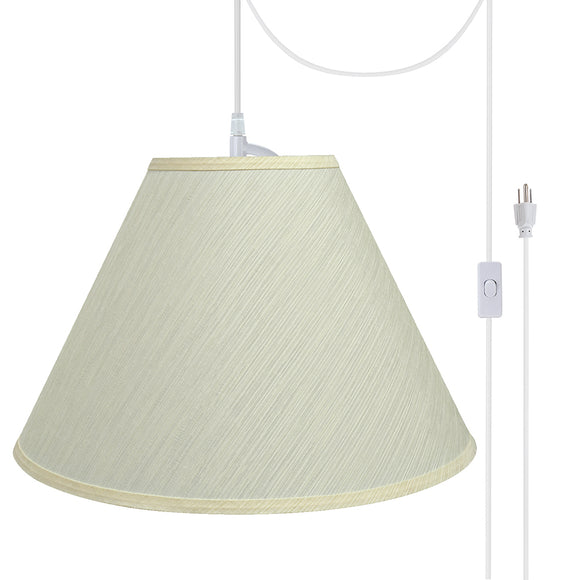 # 72771-21 Two-Light Plug-In Swag Pendant Light Conversion Kit with Transitional Hardback Empire Fabric Lamp Shade, Eggshell, 18