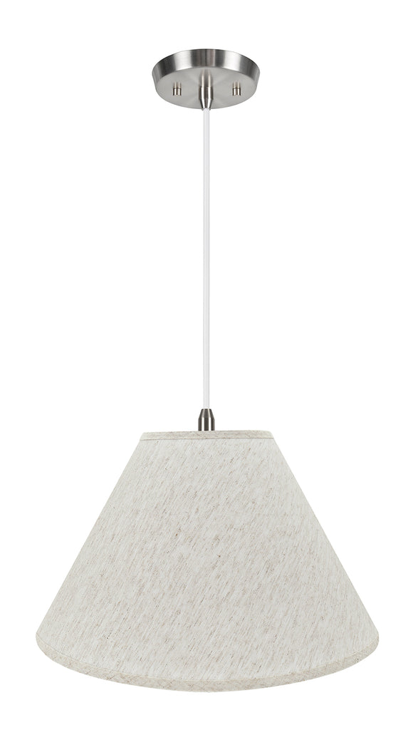 # 72772-11 Two-Light Hanging Pendant Ceiling Light with Transitional Hardback Empire Fabric Lamp Shade, Beige, 18
