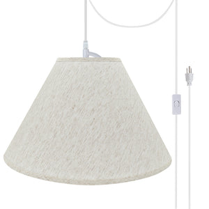 "# 72772-21 Two-Light Plug-In Swag Pendant Light Conversion Kit with Transitional Hardback Empire Fabric Lamp Shade, Beige, 18"" width"